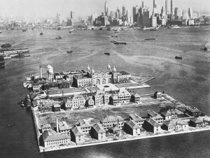 The Gateway to America is this tiny island in the middle of New York Harbor, New York, New York, October 18, 1933. Every immigrant to the East Coast of the United States is held for examination on Ellis Island. There are barracks for those who are detained. (Photo by Underwood Archives/Getty Images)