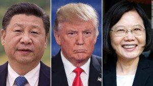 De la stânga la dreapta: Preşedinţii Jinping Xi (China), Donald Trump (SUA) şi Ing+Wen Tsai (Taiwan)